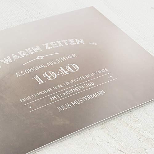 sendmoments Geburtstagseinladungen, Old Times, 80. Geburtstag 5er Klappkarten-Set C6, personalisiert mit Wunschtext & persönlichen Bildern, optional mit passenden Design-Umschlägen