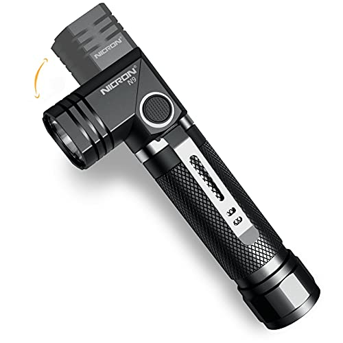 Flashlight,18650 flash light, NICRON N9,6 mode Super Bright LED 1000 lumen,90 Degree Rotate,magnet tail,IP65 Waterproof for Outdoor,Camping,Everyday Home use(Not Including Battery)