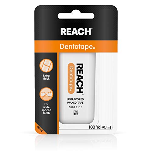 Reach Dentotape Waxed Dental Floss with Extra Wide Cleaning Surface for Large Spaces between Teeth, Unflavored, 100 Yards