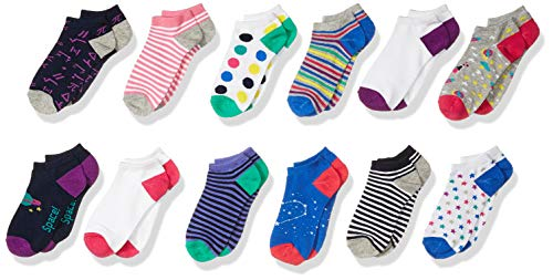 Amazon Brand - Spotted Zebra Kids Girls Ankle Socks, 12-Pack Space and Math, Large