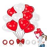 Globos de Corazón Rojo Blanco, 100 Piezas Globos en Forma de Corazón Globos del Corazón del Amor Globos de Corazon Decoración, para el Día de San Valentín Boda Aniversario Propuestas