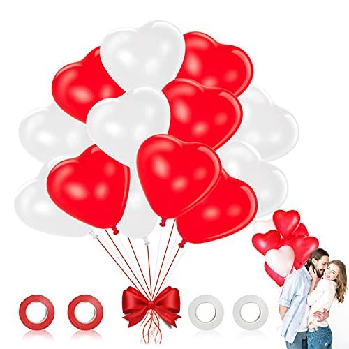 Palloncini a Forma di Cuore Rosso Bianchi, 100 Pezzi Cuore Palloncini per Valentines Palloncini Amore con Cuore Lattice Palloncino, per Matrimoni Anniversari San Valentino Decorazione