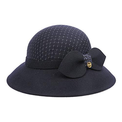 Filipinas importó el Sombrero de cáñamo Gorro de Fieltro de Lana Retro Hepburn Sombrero Femenino cálido Sombrero de Mariposa británica Marina