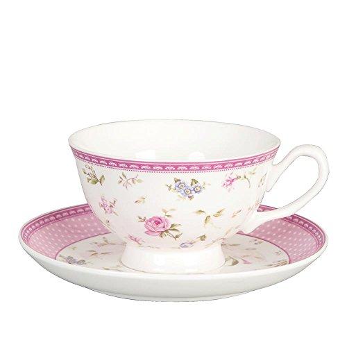 Clayre & Eef ERKS Elegant Rose Kaffeetasse mit Untertasse Rosenmuster (0,2 l) Ca. 0,2 l
