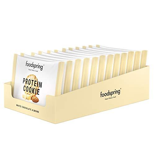 foodspring Protein Cookie, White Chocolate Almond, 12 x 50g, Viel Protein, Wenig Zucker, Der leckerste Keks für deine Fitness