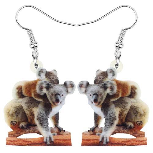 NOBRAND Pendientes De Mujer Acrílico Koala Madre Bebé Pendientes Animal Drop Dangle Jewelry