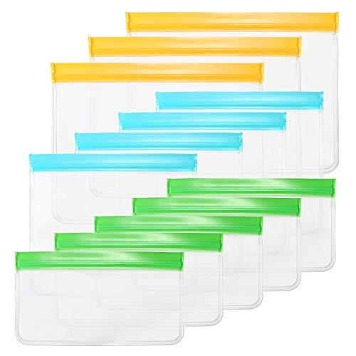 Houkiper Bolsas de almacenamiento reutilizables de 12 piezas, bolsas para congelar alimentos saludables para el hogar, bolsa hermética a prueba de fugas sin BPA para refrigerios