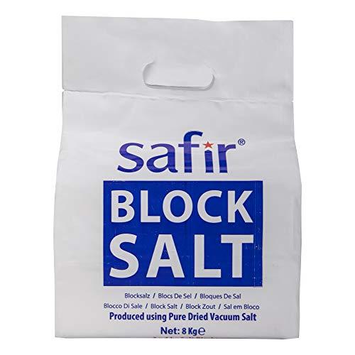 Safir Bloc Sel 2x4 8 kg - Haute qualité compatible avec tous les blocs dadoucisseurs deau salée Harveys, Monarch, Kinetico, BWT, Hydrosoft. Qualité alimentaire - Sel PDV