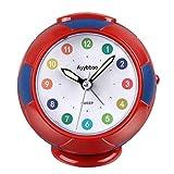 Ayybboo Reloj Despertador Analógico Niños, Despertador para Niños Silencio con Luz Sin Tictac Reloj de Mesa Simple con Snooze Reloj Despertador Dormitorio Estudio Despertadores de Niños (Rojo azúl)