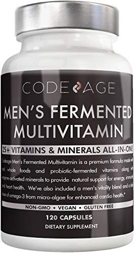 Codeage Whole Food Multivitamin for Men - Natural Multi Vitamins, Minerals, Organic Extracts - Vegan Vegetarian - Best for Daily Energy, Brain, Heart & Eye Health - 120 Vegan Capsules