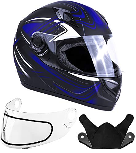 Typhoon Helmets Adult Full Face Snowmobile Helmet DOT (Blue, Large)