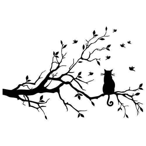 QiKun-Home Ramo di Un Albero Gatto Adesivi murali Decalcomanie Rimovibili Soggiorno Camera da Letto Decalcomanie della Parete di casa Decorazione di Arte Fai da Te Nero