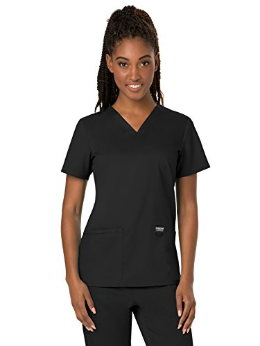 CHEROKEE Women's V-Neck Top, Black, Medium