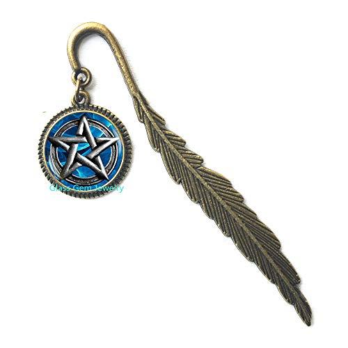 Pentagram Bookmarker, Pentagram Bookmark, Pentacle Bookmarker, Pentacle Bookmark, Pentagram Jewelry, Occult Wiccan Bookmark, Men's Bookmark,Q005