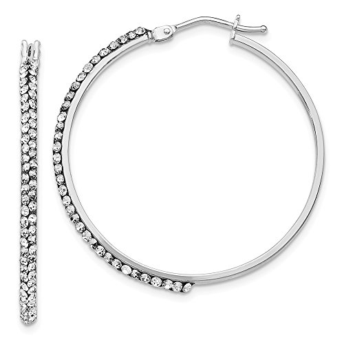 Black Bow Jewellery Company 2 x 33mm Round Hoop Earrings in 14k White Gold with Swarovski Crystals