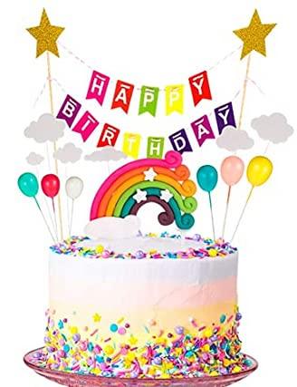 Cupcake Topper Set Decoración de Tartas, Decoraciones de Pasteles cumpleaños Incluye Rainbow Cloud Star Globo Forma umpleaños Happy Birthday,Tema Partido Decoración Niña Chico, Feliz Cumpleaños Kit