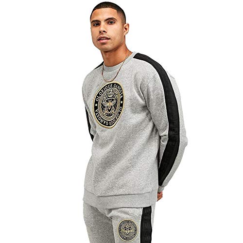 Glorious Gangsta   1130 Berto Tape Crest Logo Crew Neck Sweat Top - Grey Marl Medium Mid-Grey