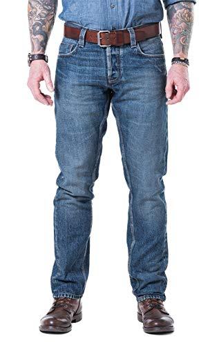 Blaumann Slim Candiani Selvage Stretch – Jeans da uomo sottili con vestibilità comoda Stone Heavy Used Wash. 31W x 34L