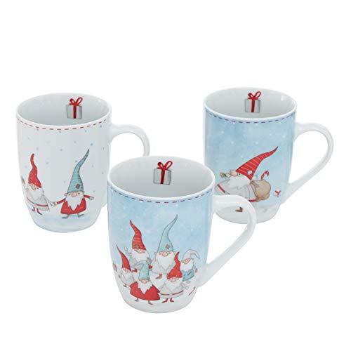 B&B 3 STK Kaffeebecher WICHTEL 330ml Weiss hellblau rot Tassen Glühweintassen Kaffeebecher Teetassen Porzellan Weihnachten Wichtelkinder Rundumdruck Wichteltassen