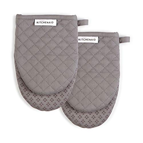 KitchenAid Asteroid Mini Cotton Oven Mitts with Silicone Grip, Set of 2, Grey 2 Count