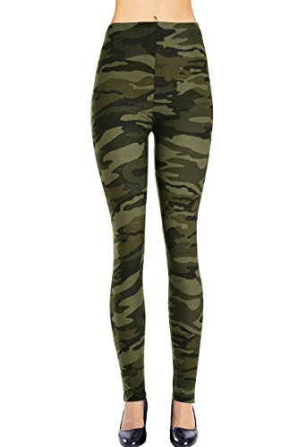 VIV Collection Plus Size Printed Leggings (Army Camouflage)