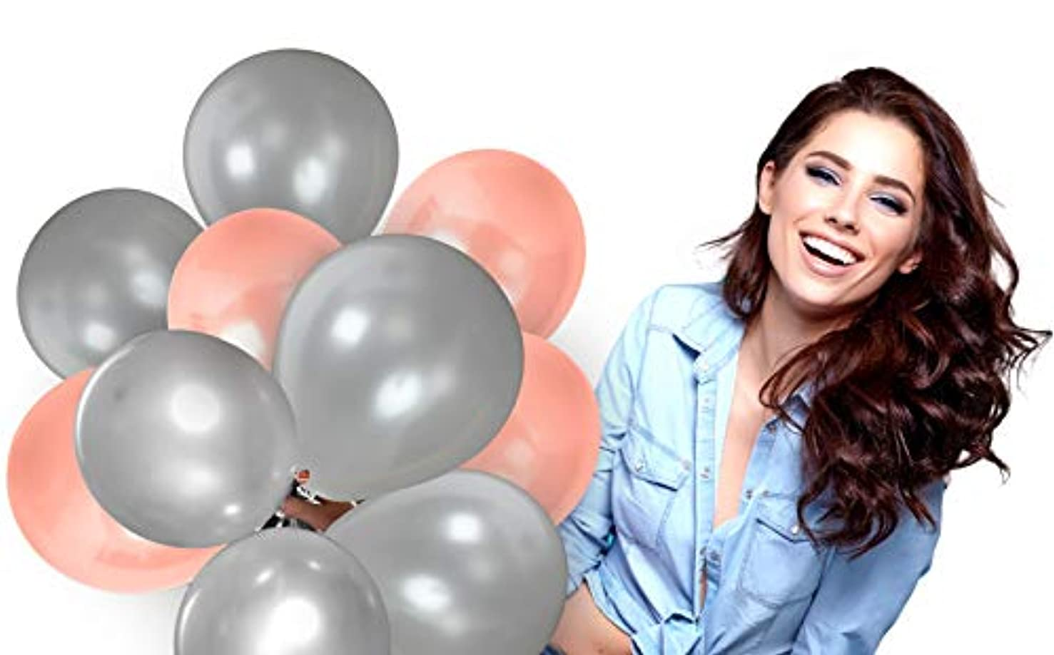 Treasures Gifted Rose Gold and Silver Metallic Balloons Kit for Valentine's Day Birthday Wedding Graduation Bridal Shower Party Decorations