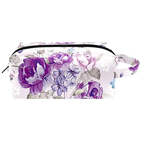 Bolsa de cosméticos impermeable para mujeres y niñas, bolsa de viaje de cuero con asa y cremallera, para maquillaje cuadrado portátil