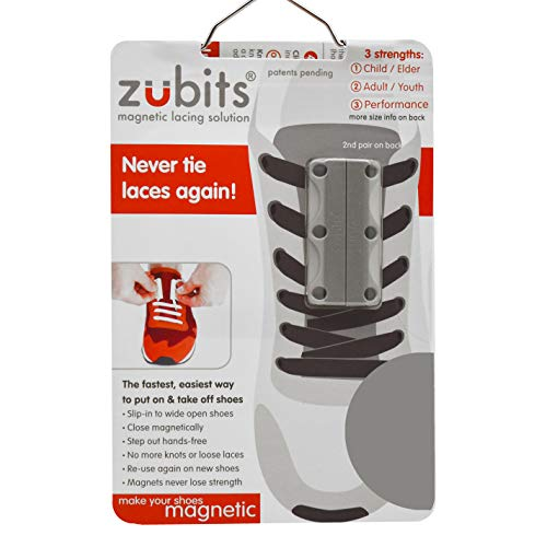 zubits® - Magnetische Schuhbinder/Magnetverschlüsse für Schuhe - Größe #2 Jugendliche und Erwachsene in grau