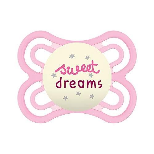 MAM S245 Chupete Perfect Night con Tetina Extra Fina y Flexible de Silicona Skinsofttm Ultrasuave, para Bebés de 0+ Meses, Brilla en la Oscuridad, con Caja Auto Esterilizable, Niñas, Rosa