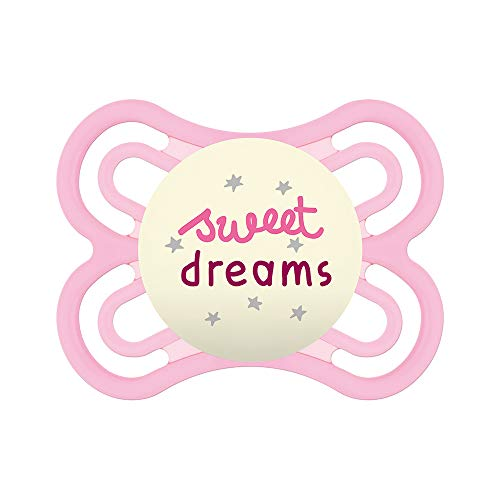 MAM S245 Mam Chupete Perfect Night con Tetina Extra Fina y Flexible de Silicona Skinsofttm Ultrasuave, para Bebés de 0+ Meses, Brilla en la Oscuridad, con Caja Auto Esterilizable, niñas