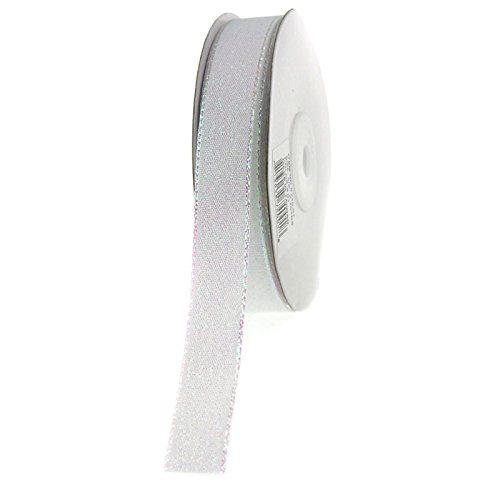 Homeford Firefly Imports Shimmering Metallic Christmas Ribbon, 5/8-Inch, 25 Yards, Iridescent White, 5/8