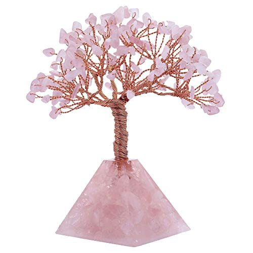 SUNYIK Natural Rose Quartz Money Tree, Rose Quartz Pyramid Crystal Base Bonsai Sculpture Figurine 5.5-6.2 Inch