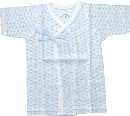 エンゼル 麻の葉柄 プリント短肌着 新生児肌着 日本製 50〜70cm 綿100% 通年素材 (サックス)