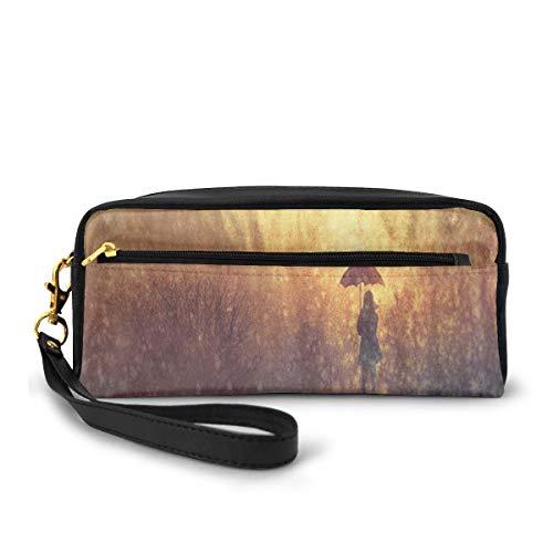 Pencil Case Pen Bag Pouch Stationair, Silhouette Van Eenzame Vrouw Onder Regen Met Paraplu Dramatische Verf Afbeelding, Kleine Make-up Tas Muntzak