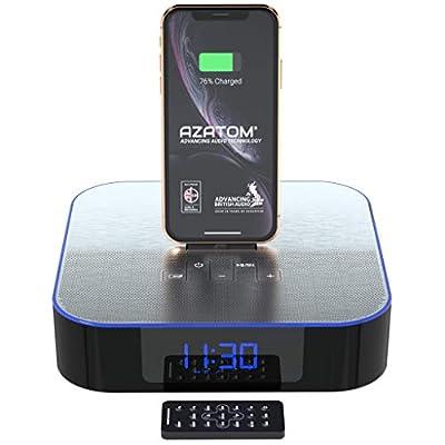 Azatom MoreAudio NOX iPhone Docking Speaker for Xs Max, Xs, Xr, X, 8, 8 plus, 7plus, 7, 6s, 6, 5s, 5, SE Nano 7G, Touch 6G 5G, iPad mini and iPads - Bluetooth - Radio Alarm - Remote from Azatom