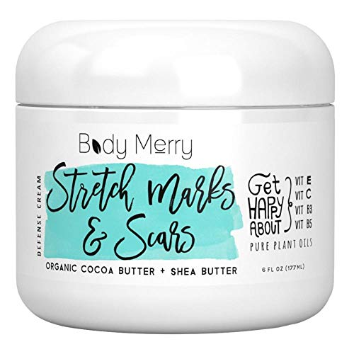 Stretch Marks & Scars Defense Cream Daily Moisturizer w Organic Cocoa Butter + Shea + Plant Oils + Vitamins to Prevent, Reduce and Fade Away Old or New Scars Best for Pregnancy, Men/Bodybuilders (6oz)