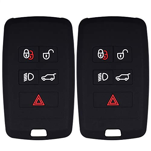 Lcyam Remote Key Fob Covers Silicone Case Fits for 2018 2019 2020 Land Rover Discovery Range Rover Sport Evoque 5 Key Fob (Black Black)