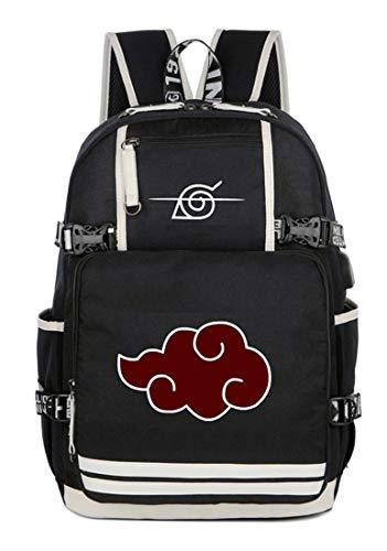 Gumstyle Naruto Anime Rucksack mit USB-Ladeanschluss Laptop Schultertasche Schultasche, Naruto 25 (Schwarz) - 1A616-25