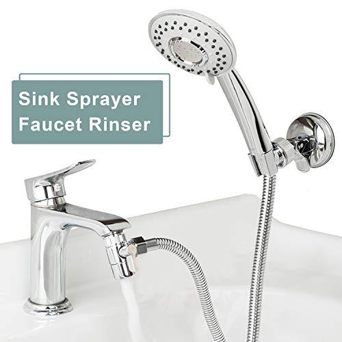 ZCONIEY Sink Sprayer Set Hair Dog Pet Shower Spray Hose Bath Tub Sink Faucet Attachment Quick Connect on Tub Spout