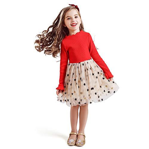 TTYAOVO Vestido de Tul de Fiesta de Princesa de Manga Larga para Niñas Talla(140) 6-7 años 671 Rojo