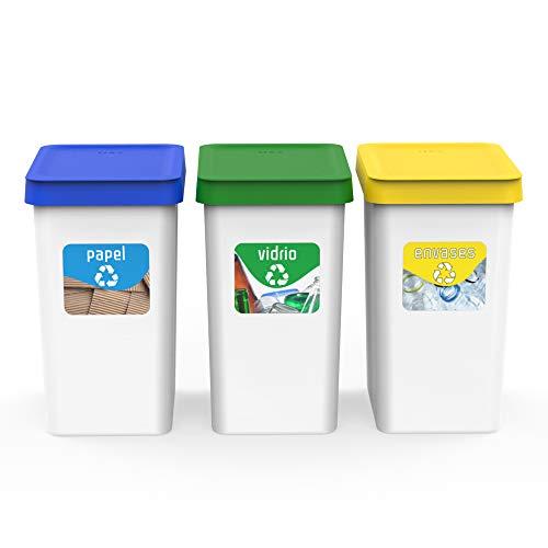 USE FAMILY Recycle Papeleras Reciclaje 12L -27x20x33 cm + 3 Pegatinas Reciclaje |Apto Bolsas 10 L | Cubos basura ecologico Plástico Reciclable ( Orgánico,Papel, Vidrio y Plastico) (3 Compartimentos)