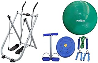 Fitness World Air Walker Glider Fitness Exercise Machine, Silver,With Yoga ball World Fitness green 75 cm,With Fitness Wor...