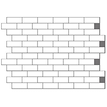 40% More Coverage 24 Sheets 12  x 6  Brilliant White Grey Grout Glossy Peel and Stick Smart Tile Stickers Kitchen Backsplash Stick on Subway Mosaics Tile Water Heat Resistant Bathroom Kitchen