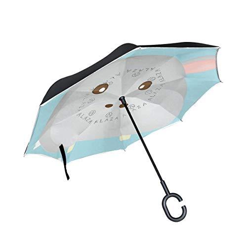 Inverted Umbrella Frohe Ostern Design Leaf Wassertropfen Großer UV-Schutz Winddicht Doppelschicht (Lichtreflektierend)