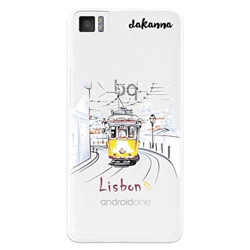 dakanna Funda para [Bq Aquaris M4.5 - A4.5] de Silicona Flexible, Dibujo Diseño [Tranvia Vintage en la Ciudad de Lisboa], Color [Fondo Transparente] Carcasa Case Cover de Gel TPU para Smartphone