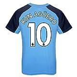 Manchester City FC - Camiseta Oficial para Entrenamiento - para niño - Azul Cielo - Escudo - Agüero 10-12-13 años