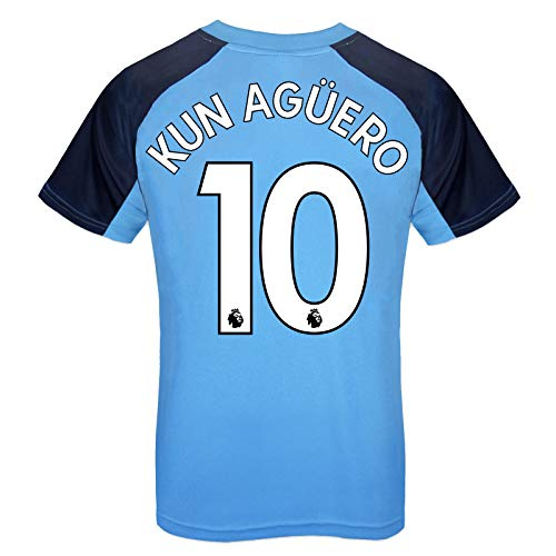 Manchester City FC - Jungen Trainingstrikot aus Polyester - Offizielles Merchandise - Geschenk für Fußballfans - Himmelblau - Wappen - Aguero 10-12-13 Jahre