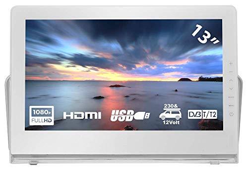 HKC P13H6 Mini TV portátil (TV Full HD de 13 Pulgadas) HDMI + USB, 60Hz, Reproductor Multimedia, batería incorporada, Cargador de Coche de 12 V, Antena portátil