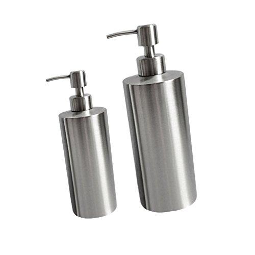 2 Pz Dispensor Lozione Sapone Bottiglie Liquidi Portasapone Dosatori Porta Bagno Accessori Acciaio Inox Argento