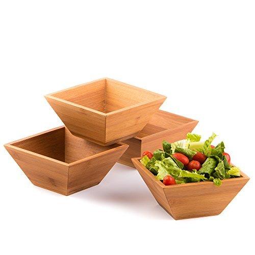 Wood Salad Bowl Set (Bamboo, Set Of 4) Best For Serving...